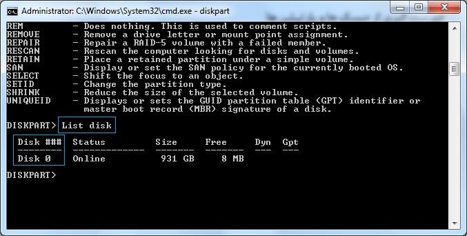 آموزش دستور Diskpart