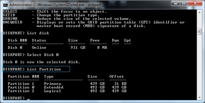 مدیریت هارد دیسک به وسیله Diskpart